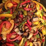 Summer sauté of peppers and wild mushrooms (for grilled sausage sandwiches)