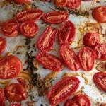 Oven roasted garden plum tomatoes with thyme and olive oil